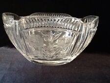 Vintage 24% Leaded Handcut CRYSTAL Glass ROSE BOWL VASE Poland Polish