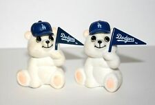 2 Vintage 1970's Los Angeles Dodgers Cheer Bear MLB Pennants New NOS Flock Fuzzy