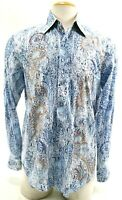 Robert Graham Men's Dress Shirt Sz Medium Stitched Paisley Wild Design Blue EUC