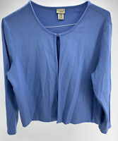 L.L. Bean Long Sleeve Single Closure Cardigan Supima Cotton Blend Blue Sz XL-PET