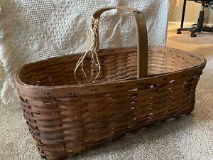 Antique Primitive Large splint woven wood gathering basket with handle