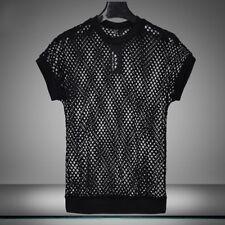 Mens Stretch Short Sleeve Fishnet Mesh See Through T-shirt Gothic Punk Rock Top