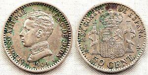 Alfonso XIII. 50 centimos 1904*0-4. Madrid. EBC-/XF-. 2,5 g.