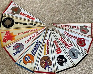 Lot 10 Vintage 80's USFL Football Pennants Gold Invaders Outlaws Bandits Stars