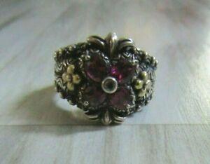 Barbara Bixby Sterling Silver & 18K Gold Garnet Flower Ring Size 9