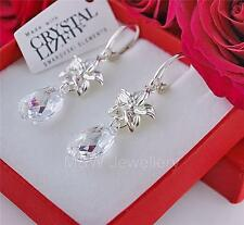 925 SILVER EARRINGS PEAR/ALMOND 16MM WHITE PATINA CRYSTALS FROM SWAROVSKI®