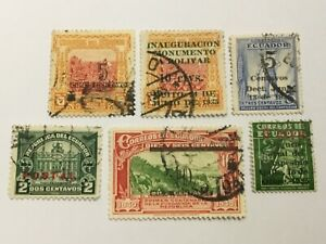 old stamps  ECUADOR    x  6 optd