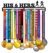 Race Day Runs , Running Medal Hanger Display for running couples her and hers