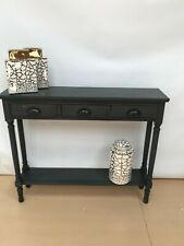 Feversham Dark Grey Wooden 3 Drawer Console Dressing Table Slim Hallway Table