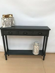 Feversham Dark Grey Wooden 3 Drawer Console Dressing Table Slim Hallway Table