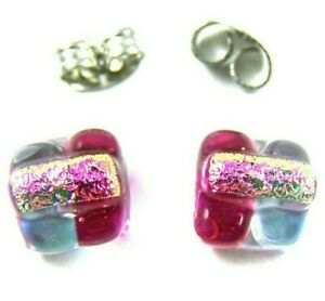 "Tiny DICHROIC Glass EARRINGS Post 1/4"" 8mm Clear Red Pink Purple Striped Studs"