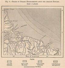 Region of Oceanic Encroachments about the Amazon Estuary. Brazil 1885 old map