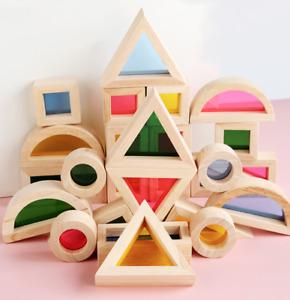 24pc Wooden Rainbow Block Construction Building Stacker Montessori Education Toy