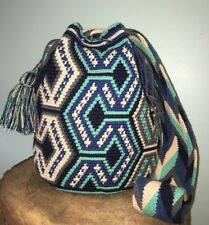 AUTHENTIC MOCHILA WAYUU LARGE SIZE HANDMADE CROSSBODY SHOULDER BAG Blue Aqua