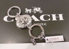 NWT COACH SIGNATURE C Silver Turn Lock Valet Key Chain Ring FOB 65501
