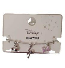 Disney Mickey Minnie Charm Flamingo Pink Bow Silver Bracelet Charms New Primark