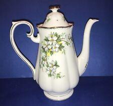 """Large Royal Albert England Dogwood Pattern Bone China Coffee Pot 9"""" Tall Serving"""