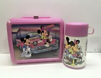 Aladdin Disney lunchbox plastic pink Mickey & Minnie mouse thermos included