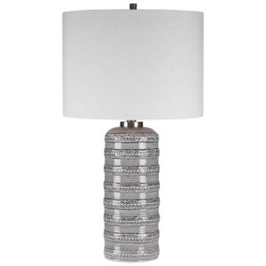 """ALENON 28"""" MODERN LACE DESIGN CERAMIC TABLE LAMP BRUSHED NICKEL UTTERMOST"""