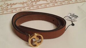 NWT NEW Gucci girls boys dark beige brown suede GG buckle belt S 284864