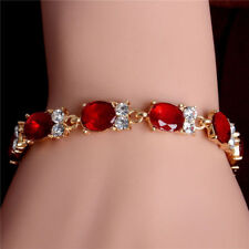Simulated Ruby Tennis Link Bracelet 18K Gold Ep 8 Ct Diamond