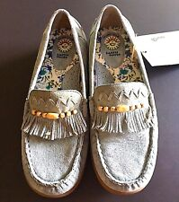 New NWT Earth Shoes Baby Blue Suede Beaded Moccasins Loafers Size 5.5 M
