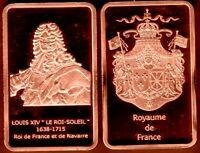 ★★★ MAGNIFIQUE LINGOT PLAQUE CUIVRE ● ROIS DE FRANCE ● LOUIS XIV ★★★★