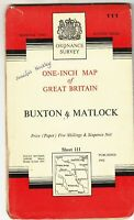 Ordnance Survey Map Buxton and Matlock No 111 1962 1 inch to mile seventh series