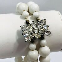 Vintage Rhinestone Clasp Beaded Bracelet Made in Japan White Plastic Beads 7.5""