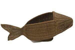 Vintage Handmade Wicker Fish Basket Decoration Woven Rattan tableware nautical