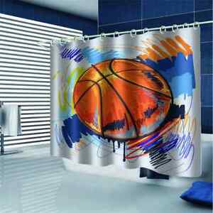 The Line Of A Basketball 3D Shower Curtain Waterproof Fabric Bathroom Decoration
