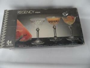 box set x 6 vintage Italian Regency Fidenza crystal glass open champagne glasses