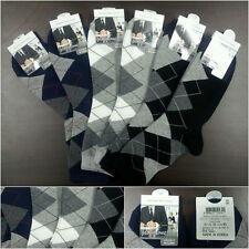6pairs Business Cotton dress Socks Womens Mens shoes Crew Argyle Fashion Color