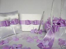 Wedding Accessory White Lavender Flower Girl Basket Ring Pillow Guest Book Pen