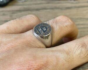 10k White Gold Mens RARE HARVARD Vintage 925 Sterling Silver Ring Biker Jewelry