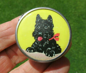 OLD ANTIQUE SCOTTIE DOG SEWING CASE MEASURE TAPE