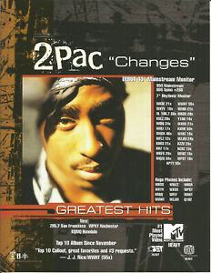 2PAC 2 Pac Ultra Rare Changes 1999 PROMO TRADE AD Poster for Hits CD MINT Tupac