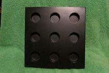 """9 tea light holder, wooden, black 10.25 x 10.25"""""""