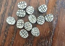 Vintage Aged Silver Bali Style Segment Textured Oval Lentil Metal Bead Lot