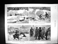 Old 1888 Blizzard Snow Storm New York America Policeman Union Square Victorian