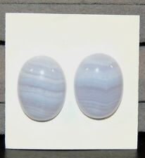 Blue Lace Agate 15x20mm Oval Cabochon Set of 2  (7457)