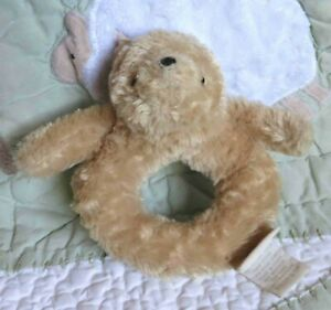 """Classic Pooh Winnie the Bear Beige Fluffy Plush Ring Rattle Baby Toy 5"""" EUC 0404"""