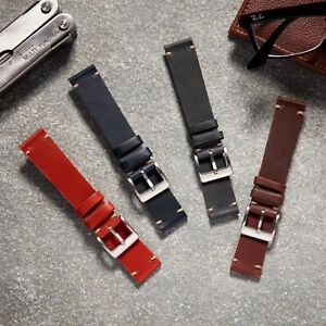 VintageTime Watch Straps - Vintage Style Leather Replacement Tan Watch Band