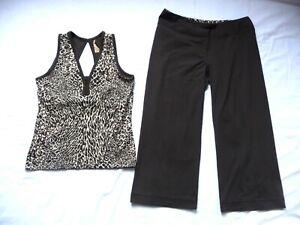 Shanghai Red Workout SET M 2 pcs Animal Print Tank top Brown Cropped Pants