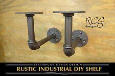 "Pair 4x6"" L Brackets DIY Pipes (10""-12"" deep shelf) urban steampunk rustic decor"