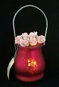 Hanging Pink/Purple Colored Mercury Glass Fairy Tealight Candle Holder NEW