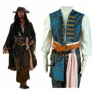 Pirates of The Caribbean 4 Jack Sparrow Cosplay Costume Halloween Blue Vest Only