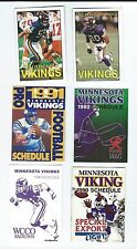 MINNESOTA VIKINGS SCHEDULE LOT OF 6 DIFFERENT (1990-93)