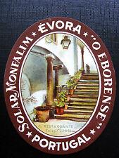 Ancienne Etiquette de Bagage -Hotel restaurant EVORA PORTUGAL