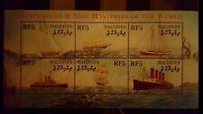C44a.Briefmarken Schiffe 2001 Maledives Kb.,postfrisch